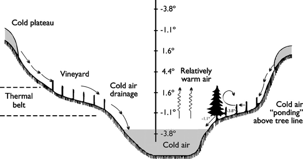 Cold air drains to lower topographical points