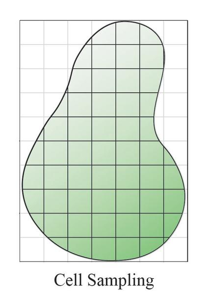 Simple graphic showing grid over a field shape