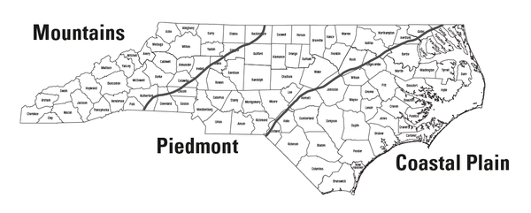 North Carolina map divided by mountains, piedmont and coast