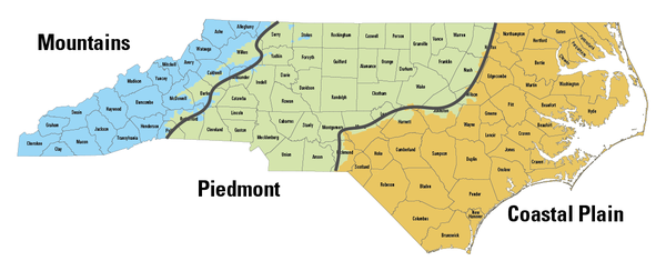 A map showing the three physiographic regions of North Carolina