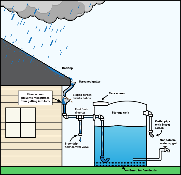 Illustration of water flow to a cistern from a house roof