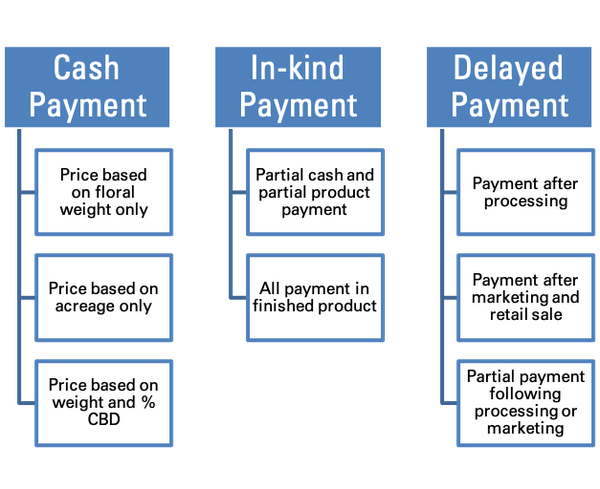 Options for cash, in-kind, or delayed payment arrangements