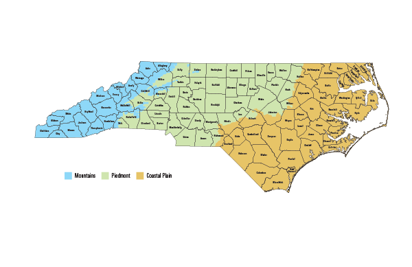map of mountain, piedmont and coastal plain regions of NC