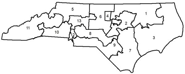 Map of North Carolina's 13 congressional districts