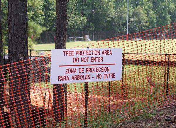 Photo of tree protection area zone sign