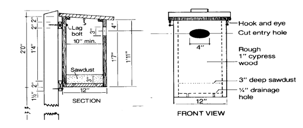 Figure 1. Wood duck nest box construction.