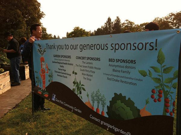 Photo of a banner thanking garden sponsors.