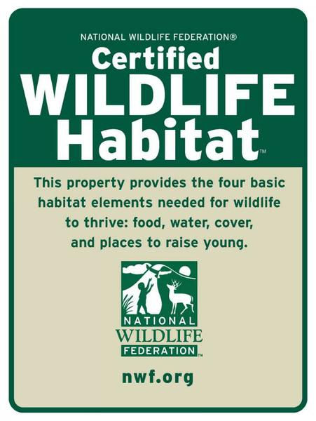 A Certified Back Yard Wildlife Habitat Sign.