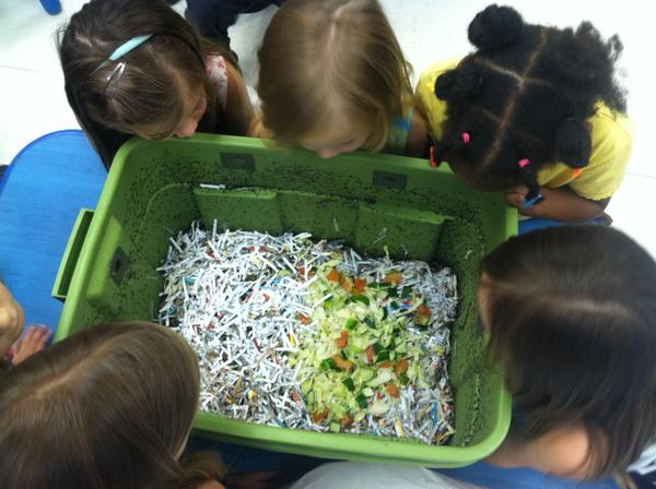 Adding food waste to a worm bin indoors is a fun activity.