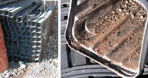 Figure 4. Pots stored on the ground are subject to runoff.