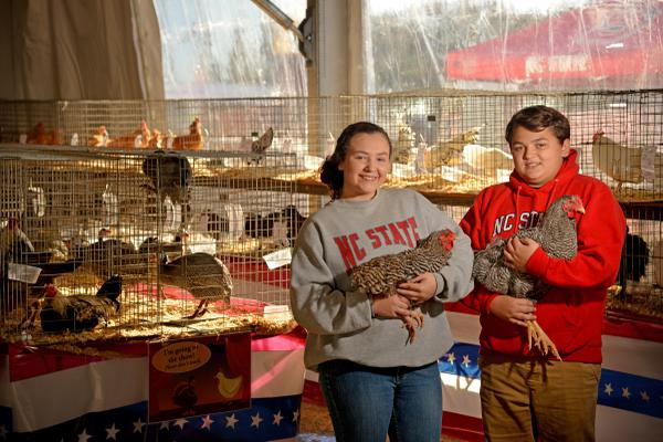4-H students hold chickens.