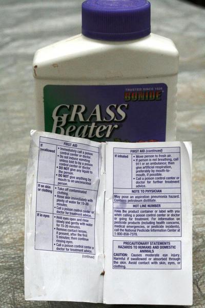 pesticide label first aid