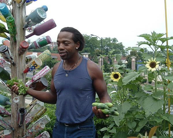 Photo of a man in a garden holding vegetables.