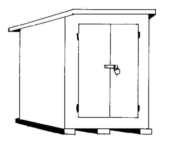 Illustration of a pesticide storage shed with lock