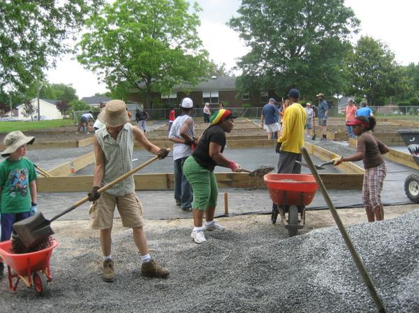 Photo of people during Community Help Day in Fayetteville