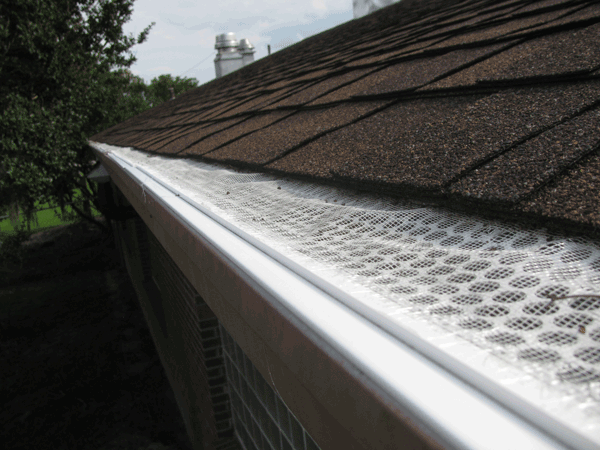 Top view of gutter closed in by screened top