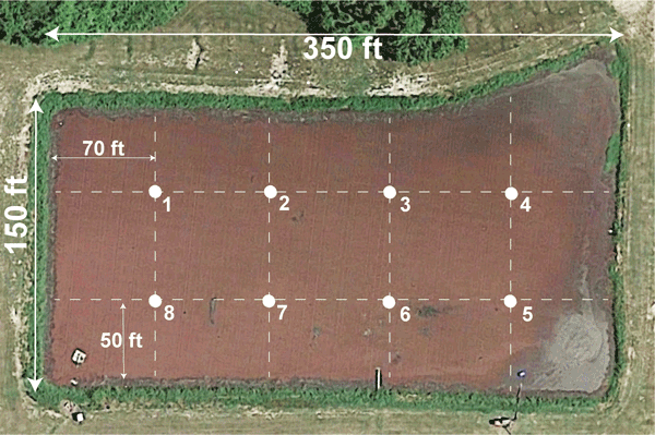 Aerial view of lagoon with grid overlay and sampling points.
