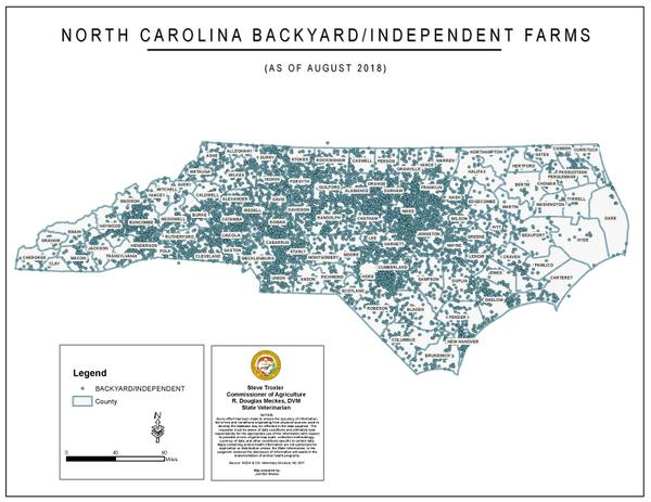Figure 4. North Carolina backyard flocks and independent farms a