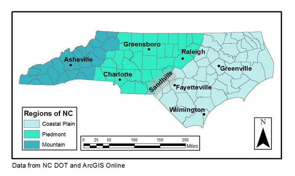 Map of physiographic regions in North Carolina