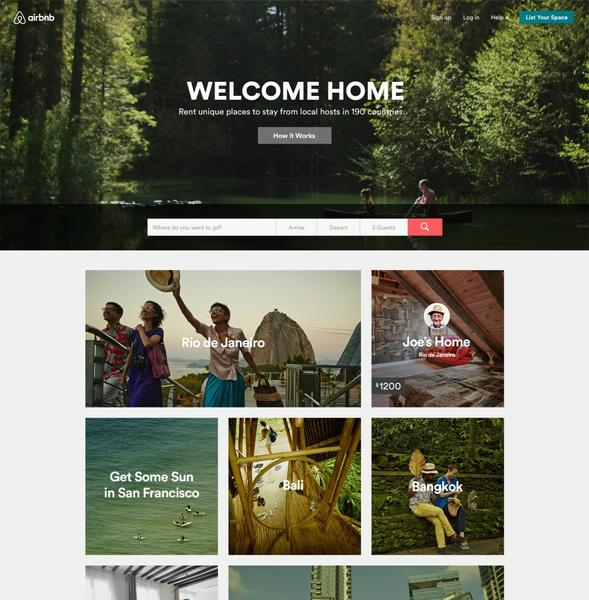 Screenshot showing Airbnb's home page.