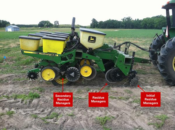 Figure 2. No-till planter with an added front toolbar to aid wit