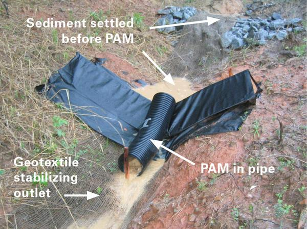 Check dam protecting the PAM log from heavy sediment.