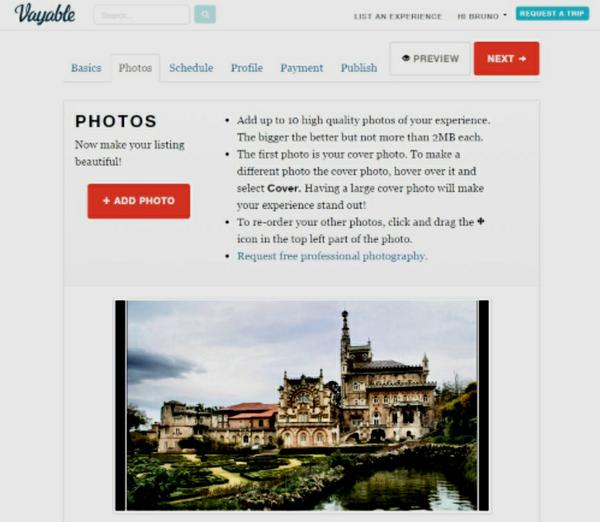 A screenshot showing photo upload page on Vayable's website.