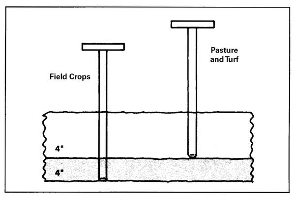 Figure 3. Sample to a depth of 8 inches in fields plowed for row