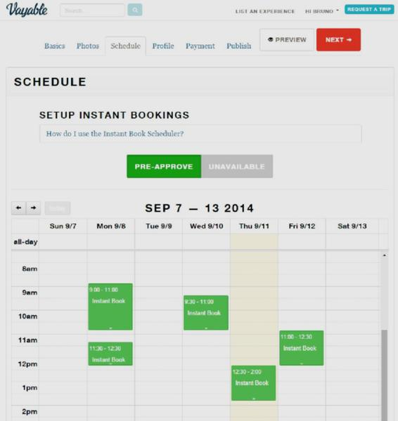 Screenshot showing the scheduling feature in Vayable.
