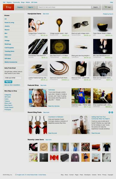 Screenshot showing Etsy's home page.