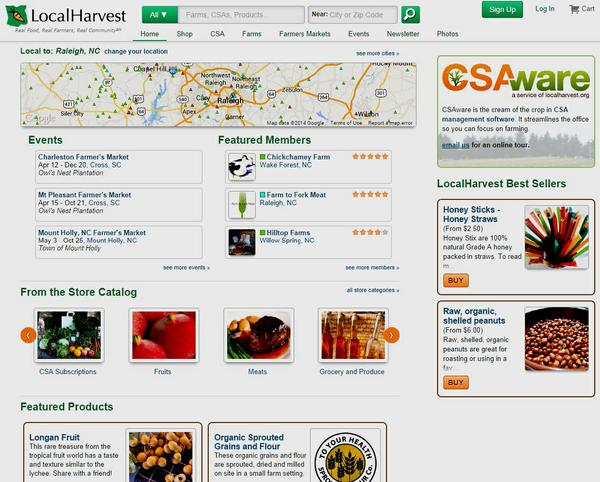 Screenshot showing Local Harvest's homepage.