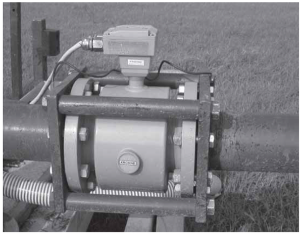 Figure 7. Magnetic-type flow meter mounted in-line on swivel pip