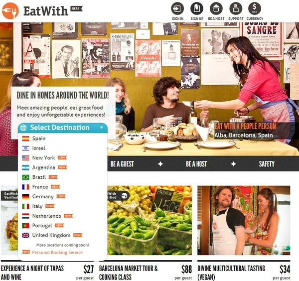 Screenshot showing EatWith's home page.