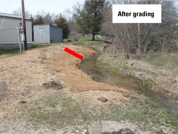 Figure 6B. This photo shows a newly graded, stabilized, and plan