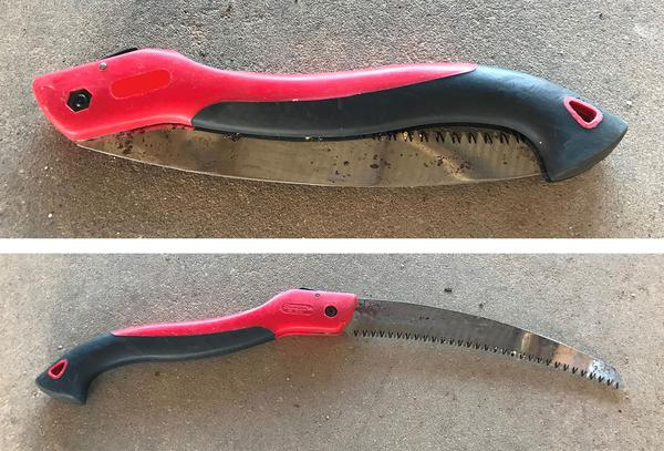 Folding saw, closed and open
