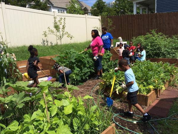 Preschoolers tending the raised-bed garden - and having fun.