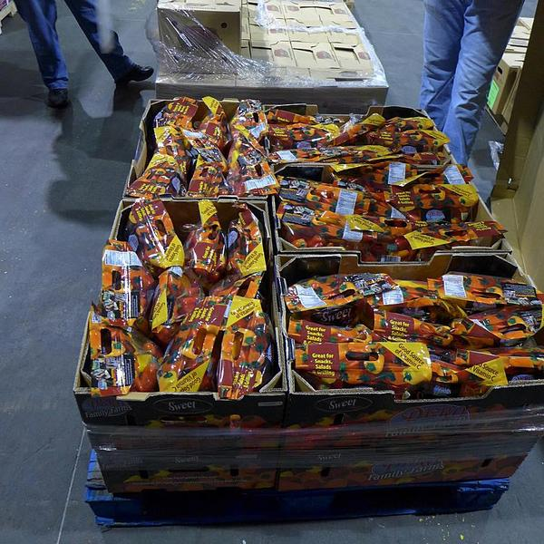 Figure 2. Peppers packed in crate.