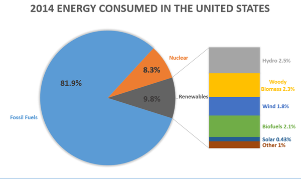 Chart of the primary type of energy consumed in the US in 2014
