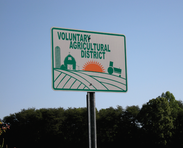 Photo of Voluntary Agricultural District sign