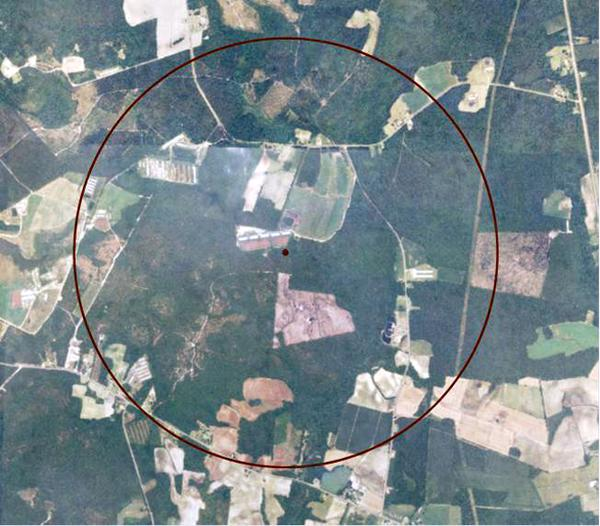 GIS land parcels graph in 1-mile radius of swine finishing farm