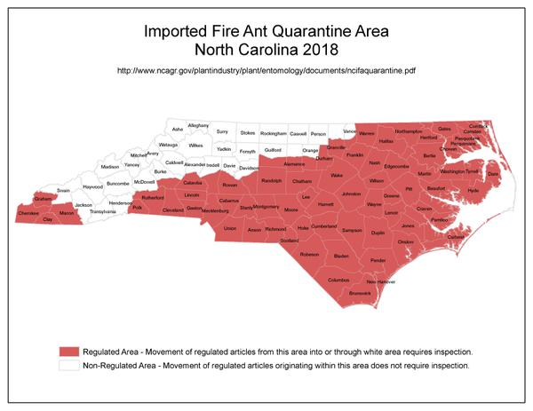 Figure 5. RIFA Quarantine Area NC 2018.
