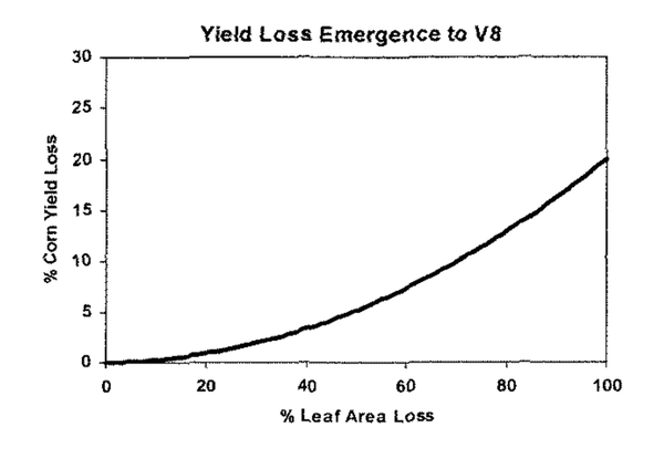 Figure 4-2. Corn yield loss resulting from loss of leaf area