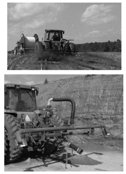 Figure 2. Hose drag (boom-type) unit shown in these two photos.