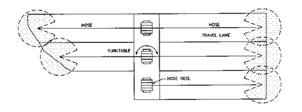 Figure 2. Schematic of layout for a hose drag traveler.