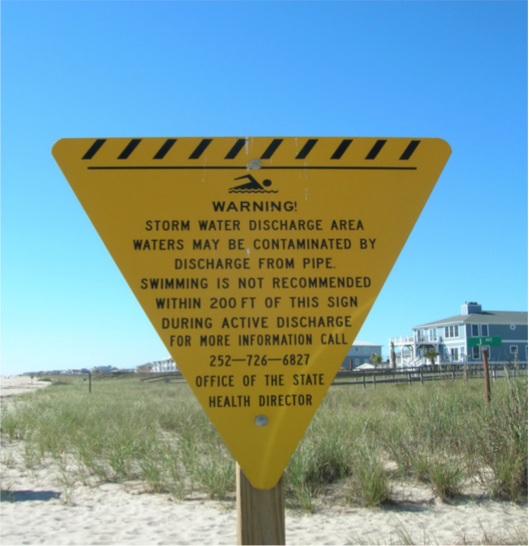 Figure 3. A permanent sign warning beachgoers to avoid swimming