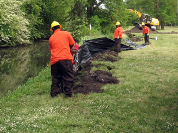 Figure 4. Installation of a silt fence along a stream bank