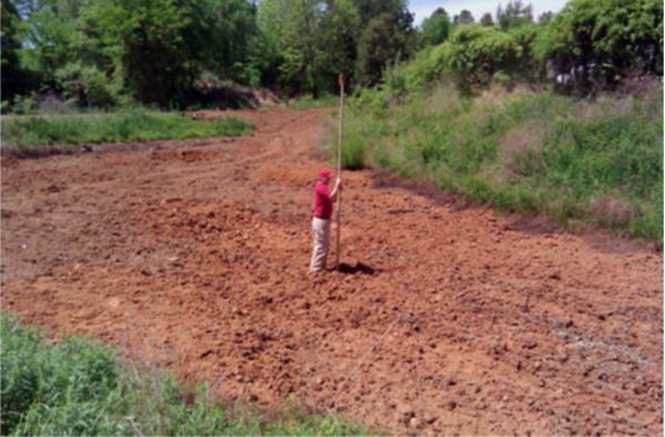Figure 13. Surveying a properly prepared wetland surface.