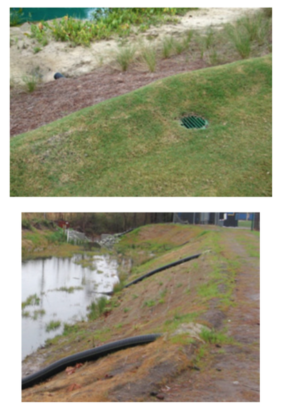 Fig 15. Two examples of using slope drains for bank stabilizatio