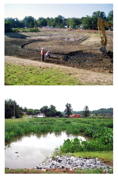 Figure 19. Adding features and topsoil in a large wetland.