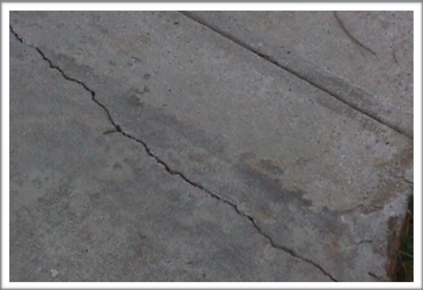 Check for cracks in driveways and sidewalks.